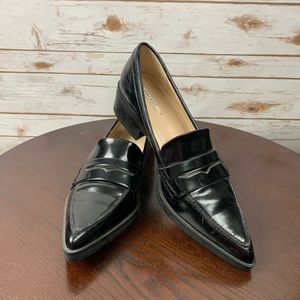 Zara Loafers size 38 black pointed toe US 8 shoes